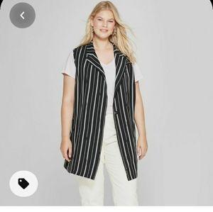 Ava and Viv Black Tied Waist Vest Size 2X